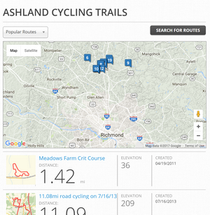 Ashland Hanover Bike Route Map