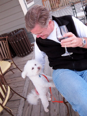 Rick Collier and friend at Bluemont Vineyard