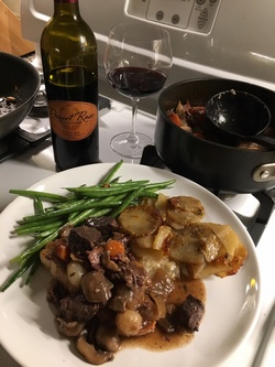 Beef bourginon with Desert Rose Winery Cabernet Franc
