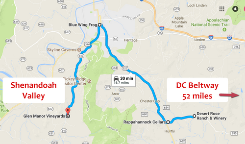 Shenandoah Valley Winery Day Trip map